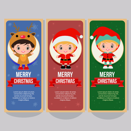 christmas vertical banner with children costume Çizim