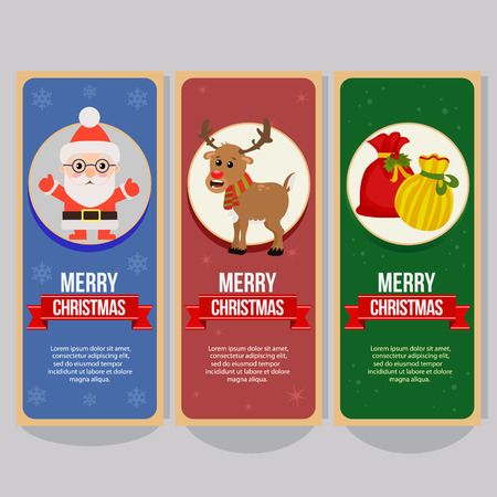 christmas vertical banner with santa claus present sacks Çizim