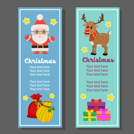 christmas vertical banner with santa claus gift sacks