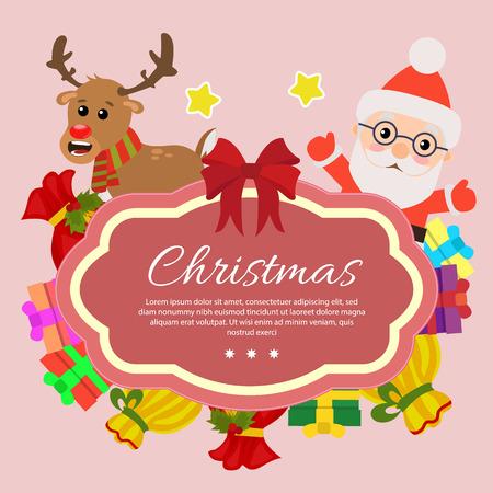 template christmas with santa claus gift sacks Vectores