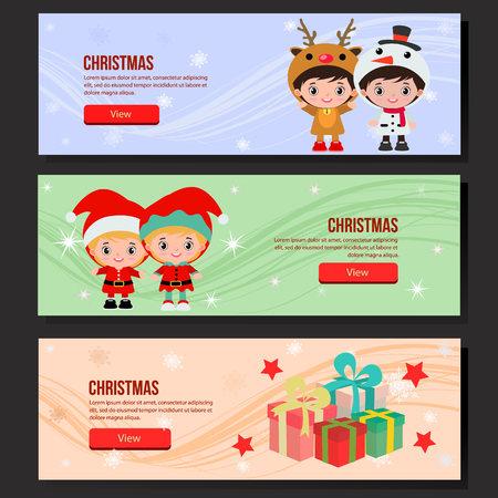 christmas web banner set children costume