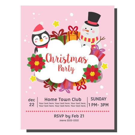 christmas party invitation card snowman penguin Vectores