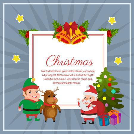 christmas decoration square text happy santa Vectores