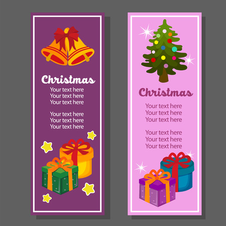 christmas vertical banner with cartoon gift box