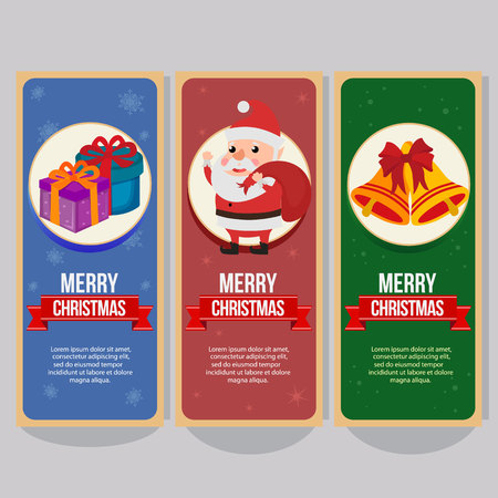 christmas vertical banner with happy santa