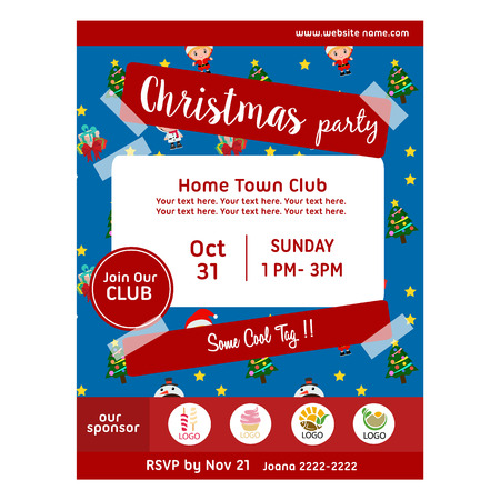 blue christmas party poster with kids costume pattern