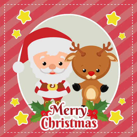 template merry christmas card with santa claus and reindeer Çizim