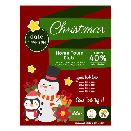 flat style christmas poster with snowman and penguin