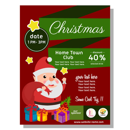 flat style christmas poster with happy santa