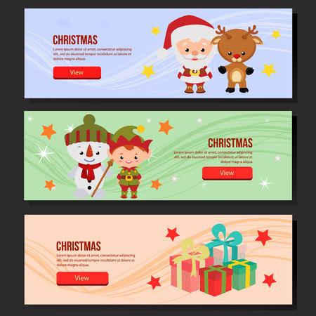 christmas web banner set santa claus elf