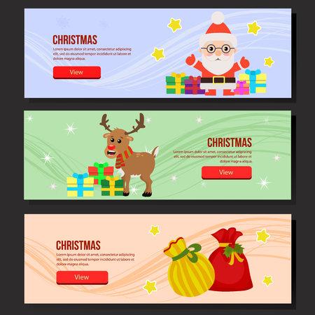 colorful santa claus gift sacks christmas web banner set
