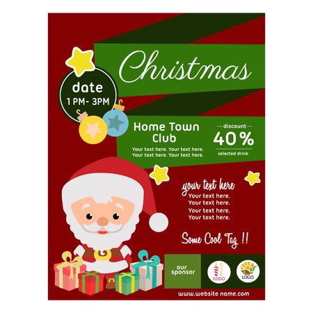 flat style christmas poster with santa claus