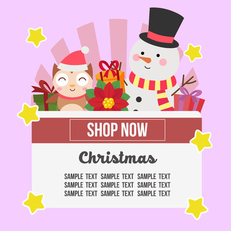 christmas shop theme with snowman and owl