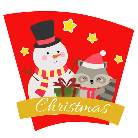 christmas with snowman animal characters