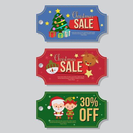 christmas sale coupon template set santa claus elf
