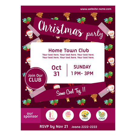 christmas party poster with christmas santa claus pattern