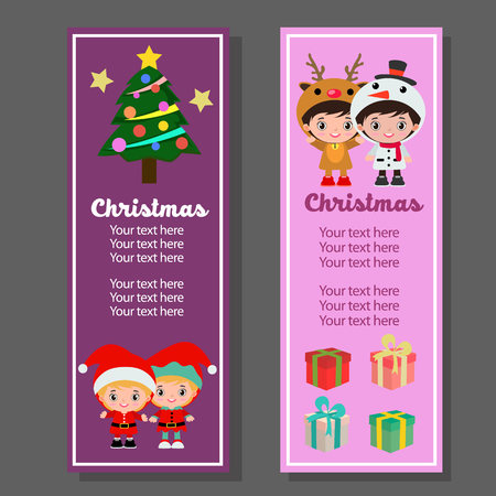christmas vertical banner with kids costume