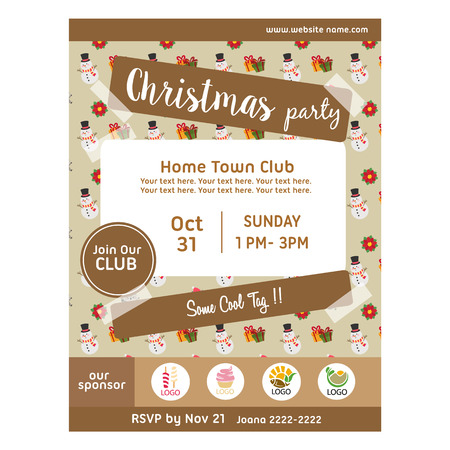 christmas party poster with snowman gift pattern Çizim