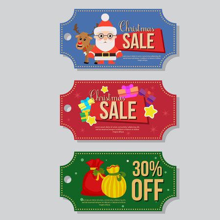 christmas sale coupon template santa claus gift sacks