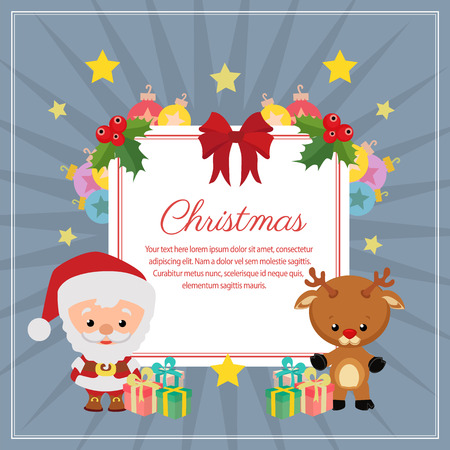 christmas decoration square text santa claus reindeer Vectores