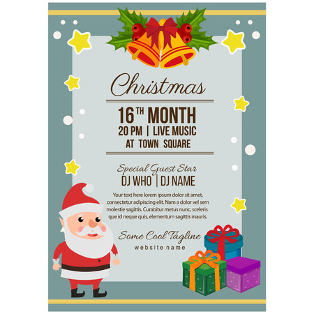christmas party poster template flat style happy santa Çizim