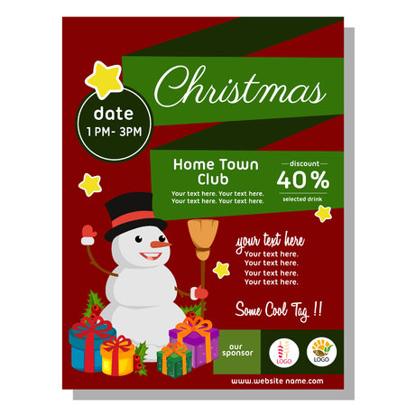 flat style christmas poster with happy snowman