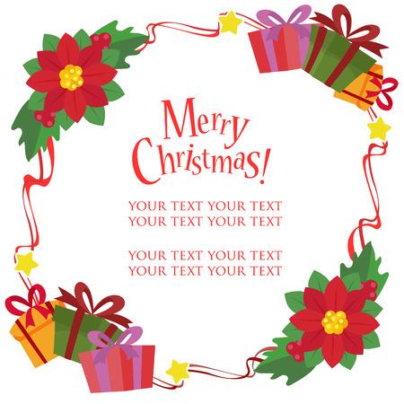 christmas frame theme with poinsettia gift box