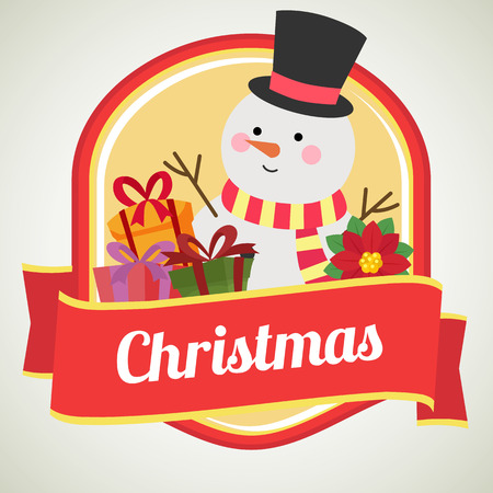 christmas badge with flat style snowman Illustration