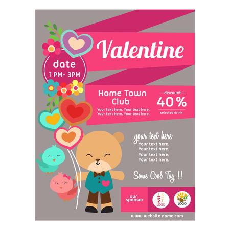flat style valentine poster with panda bear