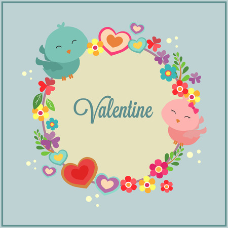 happy valentines day with bird couple decoration Illustration