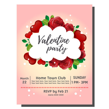 valentine party invitation card with red rose