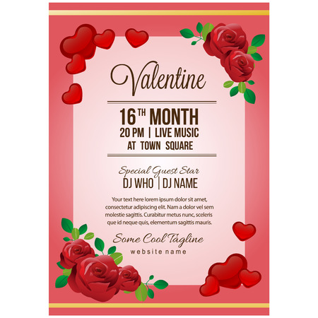 valentine party poster template with red rose Çizim