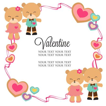 valentine frame theme with panda couple