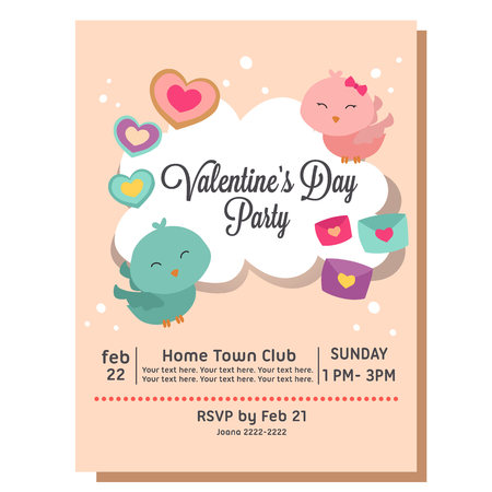 valentine party invitation with love bird couple