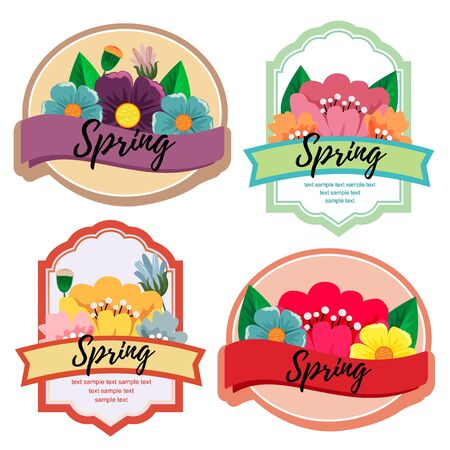 cute spring season plant cute label