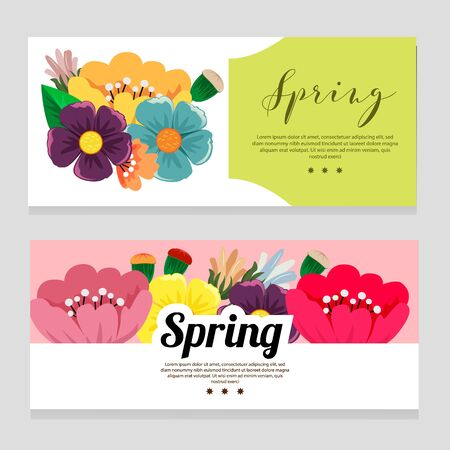 cute spring theme banner with flower foliage