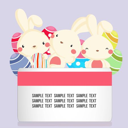 easter card with cute rabbit and egg Vectores