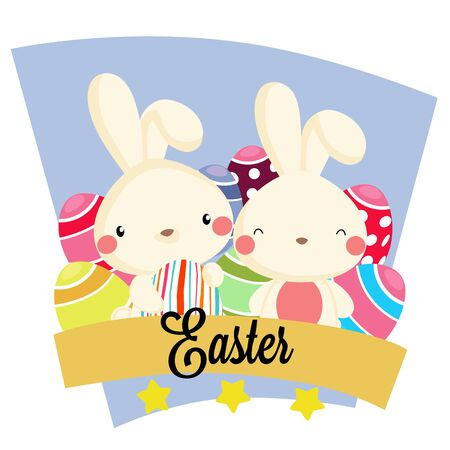 easter party with colorful egg rabbit ribbon box Vectores