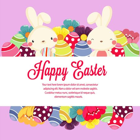 garden spring easter flower flat style with rabbit vector Vectores