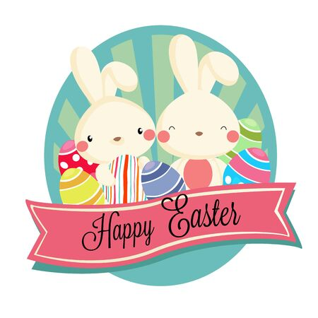 happy easter label with rabbit eggs vector