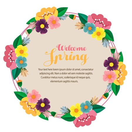 spring card bush leaves round text vector
