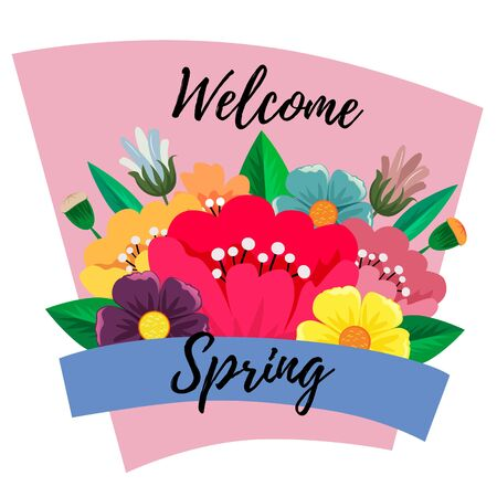 welcome spring flower flat style vector