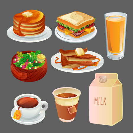 colored breakfast icon collection set