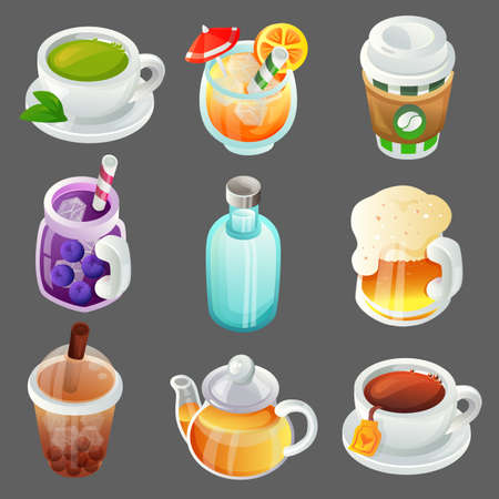 colorful beverage cartoon object item set