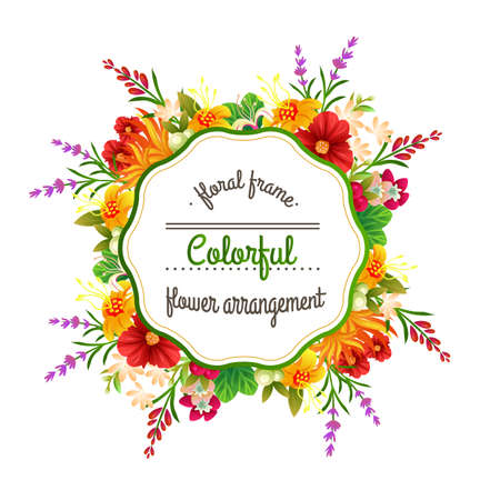 colorful flower arrangement frame Vectores