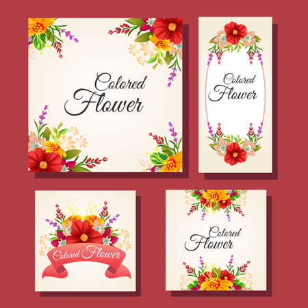 floral colored card frame set Vectores