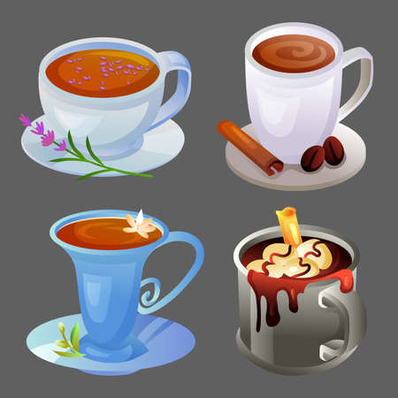 four hot drink icon with different cup