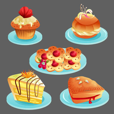 set of delicious bakery food icon