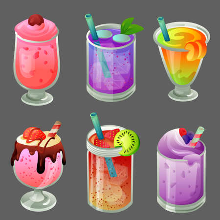 six cold beverage drink icon set