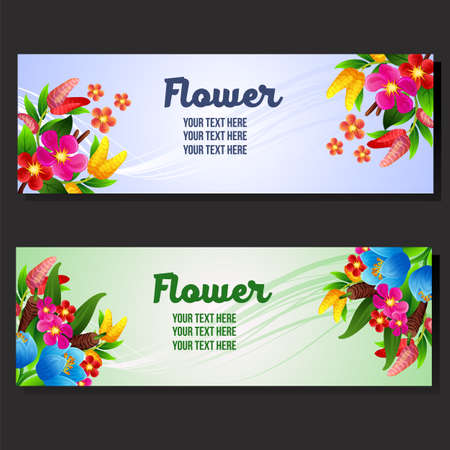 two colored flowers banner